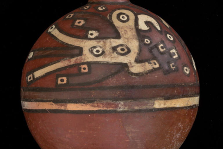 Pottery bottle; flask-shaped; short flare neck; stylized birds in black, white, and purple on upper half;
