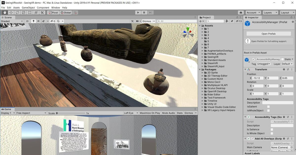Mini Museum Project in Unity for Testing SeeingVR Package