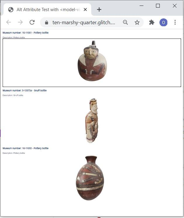 Screenshot of Model-Viewer webpage showing Google Model-Viewer based display of the converted 3D objects: